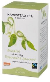 Hampstead Organic Fairtrade Peppermint & Spearmint Herbal Infusion Tea (individually wrapped) 30g x4