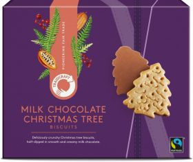 Traidcraft Milk Chocolate Christmas Tree Biscuits 12 x 200g