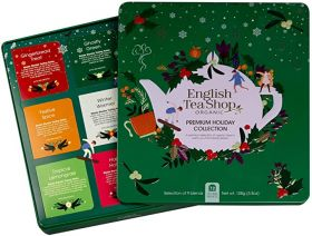 English Tea Organic Premium Holiday Collection Green Gift Tin 72ct x6