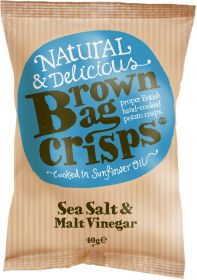 Brown Bag Crisps Sea Salt & Malt Vinegar 40g x20