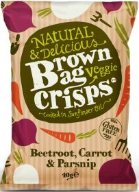 Brown Bag Veggie Crisps Beetroot, Carrot and Parsnip 40g x15