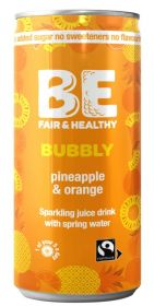 Be Bubbly Fairtrade Pineapple and Orange Drink 250ml x24