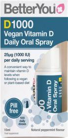 Better You DLux1000 Vegan Vitamin D Daily Oral Spray 15ml x6