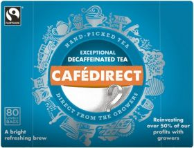 Cafédirect Fair Trade Hand-Picked Decaffeinated Tea 250g (80's) x6