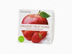 Clearspring Organic Fruit Puree - Apple/Strawberry 12 x (2x100g)