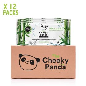 Cheeky Panda Biodegradable Bamboo 64 Baby Wipes Multi Pack x24