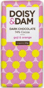 PROMO Doisy & Dam Organic Goji & Orange 74% Dark Chocolate 25g x30