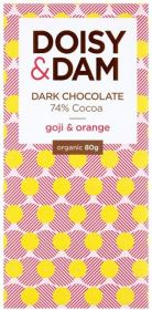 PROMO Doisy & Dam Organic Goji & Orange 74% Dark Chocolate 80g x12