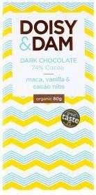 PROMO Doisy & Dam Organic Maca, Vanilla and Cacao Nibs 74% Dark Chocolate 80g x12