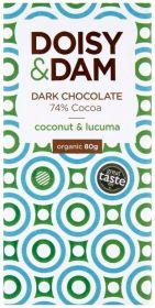 PROMO Doisy & Dam Organic Coconut and Lucuma 74% Dark Chocolate 80g x12