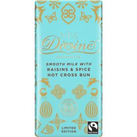 Divine Fair Trade Hot Cross Bun (Raisin and Spice) Smooth Milk Chocolate 90g x15