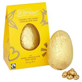 Divine 70% Dark Chocolate Luxury Egg with Mini eggs 260g x6
