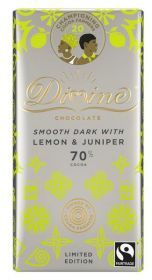 Divine Fairtrade 70% Dark with Lemon and Juniper Smooth  Chocolate 90g x15