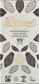 Divine Fair Trade & Organic 95% Rich Dark Chocolate 80g x10
