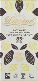 Divine Fair Trade & Organic 85% Rich Dark Chocolate with Lemon 80g x10