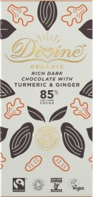 Divine Fair Trade & Organic 85% Rich Dark Chocolate with Turmeric and Ginger 80g x10