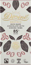 Divine Fair Trade & Organic 85% Rich Dark Chocolate with Cocoa Nibs 80g x10