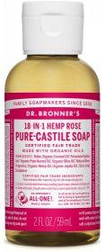 Dr Bronner Rose Pure-Castile Liquid Soap 60ml x12
