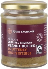 Equal Exchange Fair Trade & Organic Crunchy Peanut Butter (Unsalted) 280g x6