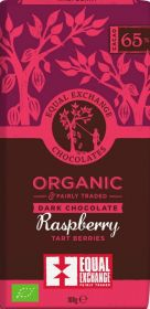 Equal Exchange Organic 65% Raspberry Tart Berries Dark Chocolate 100g x12