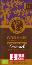 Equal Exchange Organic 55% Caramel Crunch with Sea Salt Dark Chocolate 100g x12