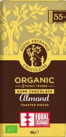 Equal Exchange Organic 55% Almond Toasted Pieces Dark Chocolate 100g x12