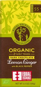 Equal Exchange Organic Lemon Ginger with Black Pepper Dark Chocolate 100g x12