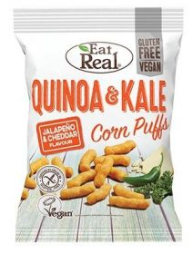 Eat Real Jalapeno and White Cheddar Quinoa & Kale Corn Puffs 40g x12