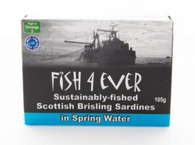 Fish 4 Ever Scottish Brisling Sardines in Spring Water 105g x12