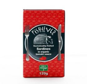 Fish 4 Ever Whole Sardines in Organic Tomato Sauce 120g x10