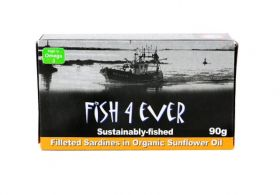 Fish 4 Ever Filleted Sardines in Organic Sunflower Oil 90g x10