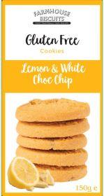 Farmhouse Gluten Free Lemon & White Choc Chip Biscuits 150g x12