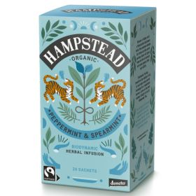 Hampstead Organic Fairtrade Peppermint & Spearmint Tea Bags (individually wrapped) 250's x3
