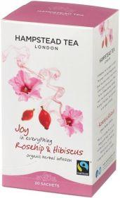 Hampstead Organic Fairtrade Rosehip & Hibiscu Herbal Infusion Tea (individually wrapped) 30g x4
