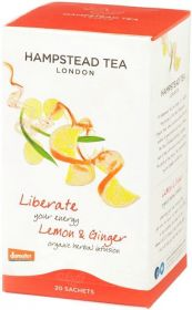 Hampstead Organic Green Tea with Lemon (individually wrapped) 40g x4