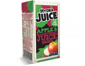 Hydra 75% Apple and Blackcurrant Juice Drink Cartons with Straw 200ml x24