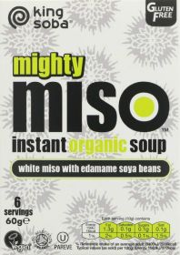 King Soba Organic White Miso with Edamame Soya Bean Instant Soup 60g x10