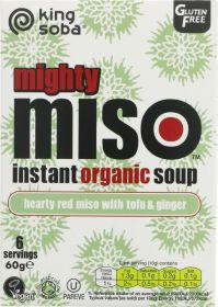 King Soba Organic Hearty Red Miso with Tofu and Ginger Instant Soup 60g x10