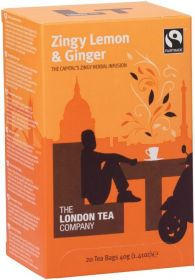 London Tea Company Fair Trade Zingy Lemon and Ginger Teabags 40g (20s) x6