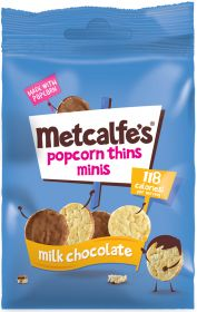 Metcalfe's Skinny Milk Chocolate Coated Mini Corncake Popcorn Thins 50g x6