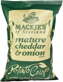 Mackie's of Scotland Mature Cheddar and Onion Potato Crisps (Sharing Bag) 150g x12