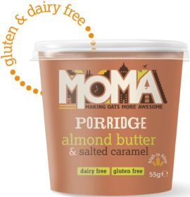 Moma Almond Butter and Salted Caramel Instant Porridge Pots 55g x12