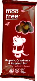 PROMO Moo Free Organic Cranberry and Hazelnut Fruit & Nut Chocolate 100g x10