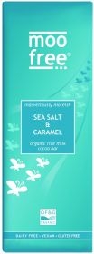 PROMO Moo Free Organic Marvellously Moreish Sea Salt and Caramel Rice Milk Cocoa Chocolate Bar 80g x12