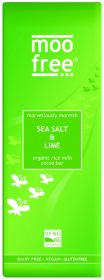 PROMO Moo Free Organic Marvellously Moreish Sea Salt and Lime Rice Milk Cocoa Chocolate Bar 80g x12