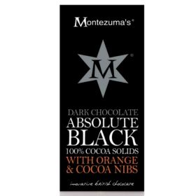 Montezuma Absolute Black with Orange and Cocoa Nibs 100g x12