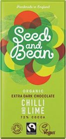 Seed and Bean Fair Trade & Organic Chilli and Lime Extra Dark Chocolate 85g x8