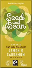 Seed and Bean Fair Trade & Organic Lemon and Cardamom Fine Dark Chocolate 85g x8