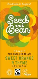 Seed and Bean Fair Trade & Organic Sweet Orange and Thyme Fine Dark Chocolate 85g x8