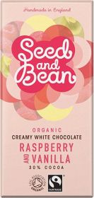 Seed and Bean Fair Trade & Organic Raspberry and Vanilla Creamy White Chocolate 85g x8